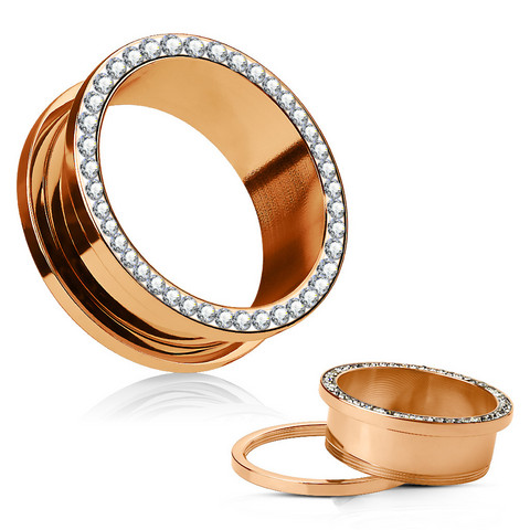 Tunneli 10mm, Crystals Rim Rose Gold