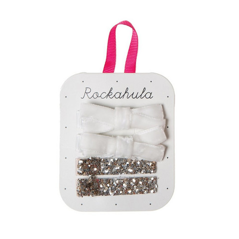 Hiuskoru/pinni, Rockahula KIDS|Velvet and Glitter Clips White
