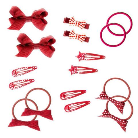 Hiuskoru/pompula, Rockahula KIDS School Hair Set - 16 Pieces Red