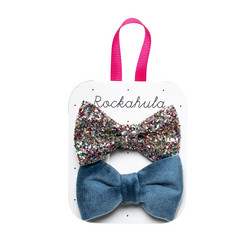 Hiuskoru/pinni, Rockahula KIDS|Velvet And Glitter Bow Clips Blue