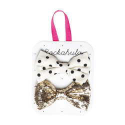 Hiuskoru/pinni, Rockahula KIDS|Polka Dot And Glitter Bow Clips Gold