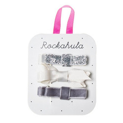 Hiuskoru/pinni, Rockahula KIDS|Twisted Grosgrain Bow Clips Grey