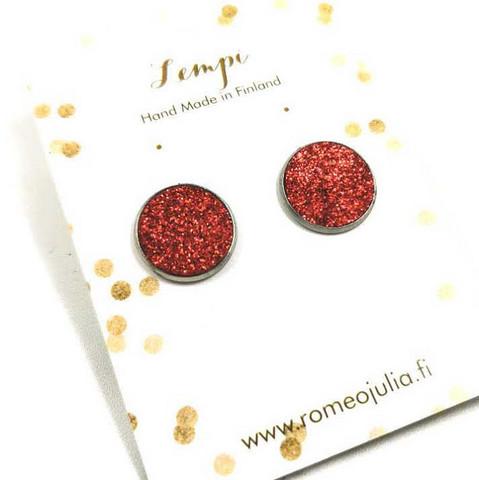 LEMPI-korvanapit, Veera (tummanpunainen glitter, L)