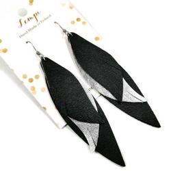 LEMPI-korvakorut, Siivet (musta ja hopea, nahka)