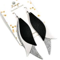LEMPI-korvakorut, Siivet (musta, valkoinen ja hopea, nahka)
