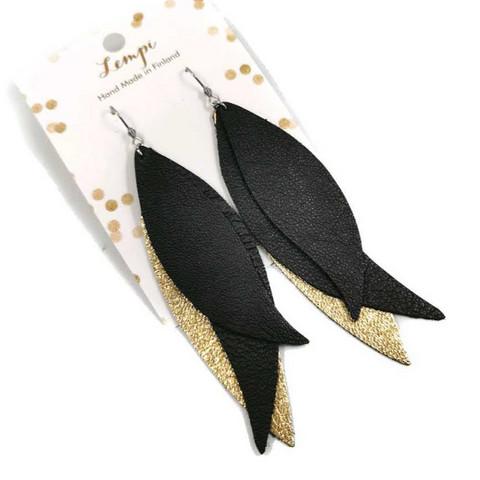 LEMPI-korvakorut, Siivet (musta ja kulta, nahka)