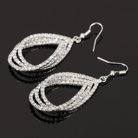 Korvakorut, Strass Teardrop Earrings in Silver