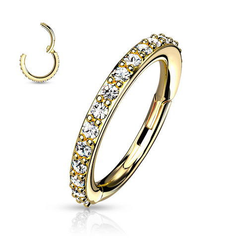 Lävistysrengas, High Quality Surgical Steel Hinged Rings with CZ/Gold