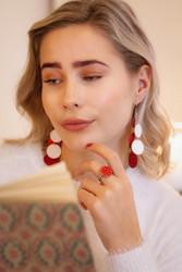 LEMPI-korvakorut, Onni (punainen, valkoinen glitter)