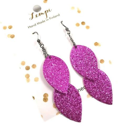 LEMPI-korvakorut, Lehdet (pinkki glitter, siro 2-os)
