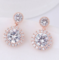 Juhlakorvakorut, ROMANCE/Classic CZ Earrings in Rosegold