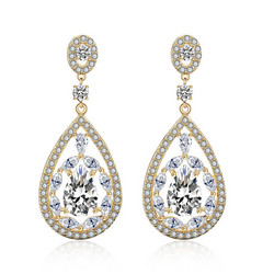 Juhlakorvakorut, ROMANCE/Gorgeous Teardrop Earrings with CZ (Gold)