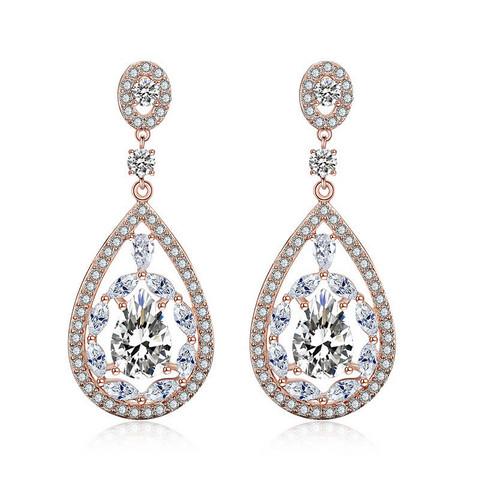 Juhlakorvakorut, ROMANCE/Gorgeous Teardrop Earrings with CZ (Rosegold)