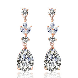 Juhlakorvakorut, ROMANCE/Classic Teardrop Earrings with CZ (Rosegold)