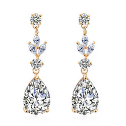 Juhlakorvakorut, ROMANCE/Classic Teardrop Earrings with CZ (gold)