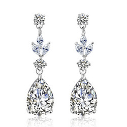 Juhlakorvakorut, ROMANCE/Classic Teardrop Earrings with CZ
