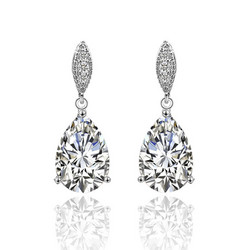 Juhlakorvakorut, ROMANCE/Graceful Teardrop Earrings with CZ