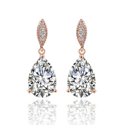 Juhlakorvakorut, ROMANCE/Graceful Teardrop Earrings with CZ (RG)