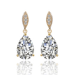Juhlakorvakorut, ROMANCE/Graceful Teardrop Earrings with CZ (G)