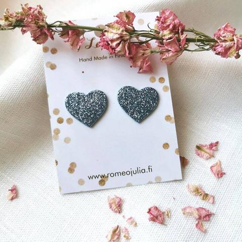 LEMPI-korvanapit, Lempi (vaaleansininen glitter, pikkuinen sydän)