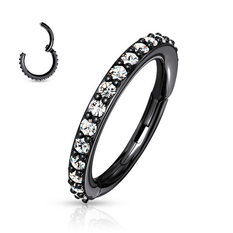 Lävistysrengas, High Quality Surgical Steel Hinged Rings with CZ/Black