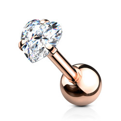 Rustokoru/traguskoru, Prong Set Heart in Rosegold CZ