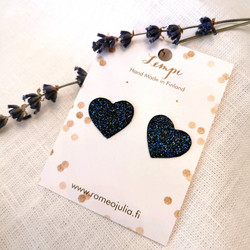 LEMPI-korvanapit, Lempi (tummansininen glitter, pikkuinen sydän)