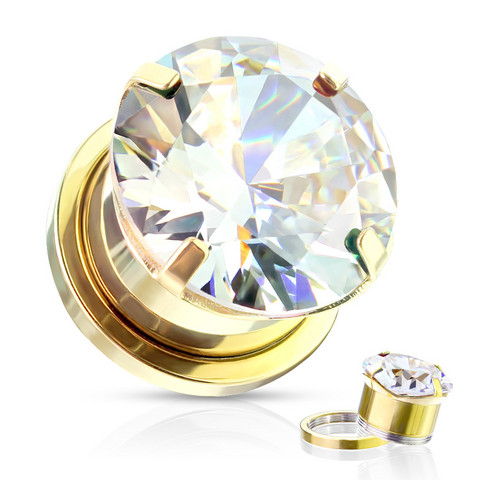 Plugi 10mm, Zircon Prong Set with CZ in Gold