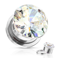 Plugi 10mm, Zircon Prong Set with CZ