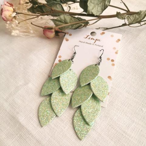 LEMPI-korvakorut, Vilja (vaaleanvihreä glitter)