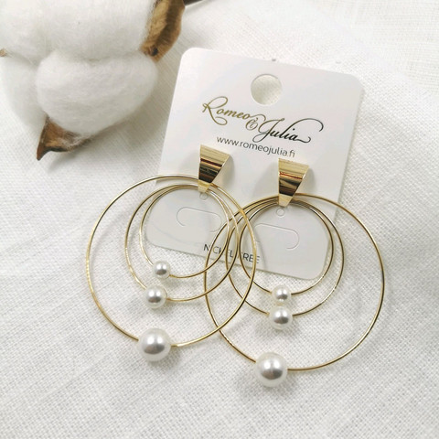 Korvakorut, Modern Pearl Hoop Earrings