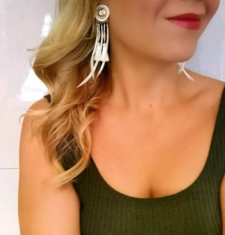 Klipsikorvakorut, Bohemian Earrings With Feathers