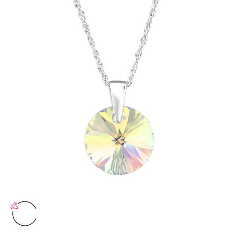 Hopeinen kaulakoru, LA CRYSTALE, Round Crystal in Clear AB