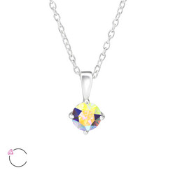 Hopeinen kaulakoru, LA CRYSTALE, Small Pendant with Swarovski® Crystal