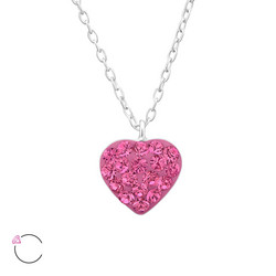 Hopeinen kaulakoru, LA CRYSTALE, Pretty Swarovski® Heart in Light Rose