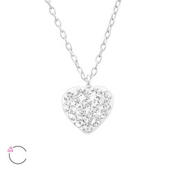 Hopeinen kaulakoru, LA CRYSTALE, Pretty Swarovski® Heart in Clear