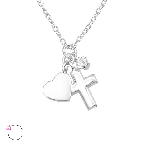 Hopeinen kaulakoru, LA CRYSTALE, Cross & Heart Necklace