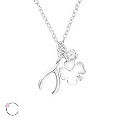 Hopeinen kaulakoru, LA CRYSTALE, Clover and Wishbone Necklace