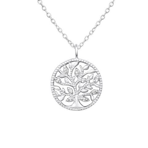 Hopeinen kaulakoru, Tree of Life with Cubic Zirconia
