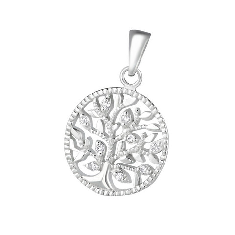Hopeinen riipus, Tree of Life with Cubic Zirconia