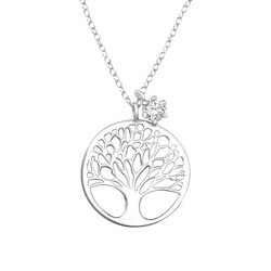 Hopeinen kaulakoru, Tree of Life with Small CZ
