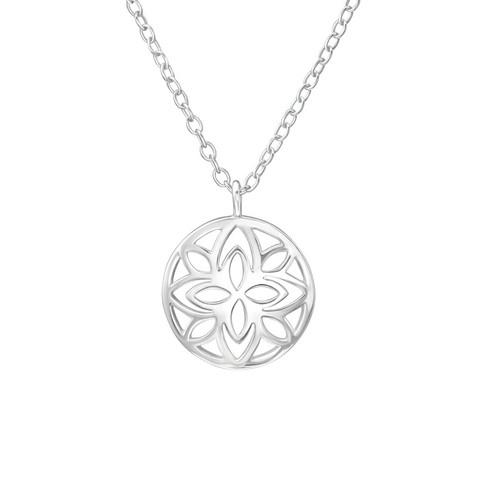 Hopeinen kaulakoru, Round Patterned Necklace