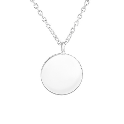 Hopeinen kaulakoru, Round Smooth Necklace