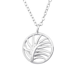 Hopeinen kaulakoru, Round Palm Tree Necklace