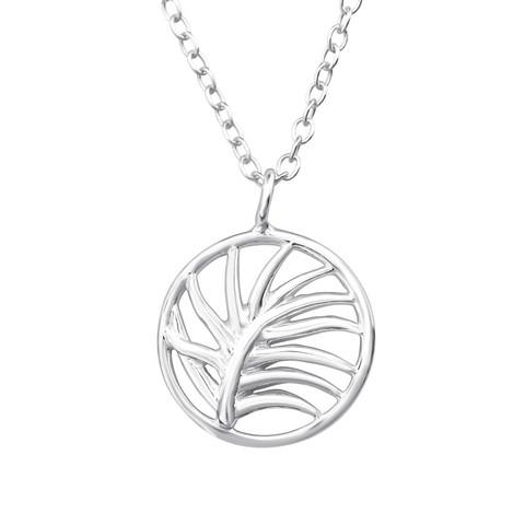 Hopeinen kaulakoru, Round Palm Tree Necklace