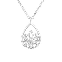 Hopeinen kaulakoru, Silver Flower Necklace with Cubic Zirconia