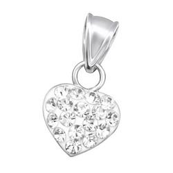 Hopeinen riipus, Siro sydän pienillä kristalleilla