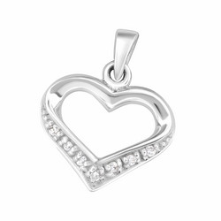 Hopeinen riipus, Luxurious Modern Heart Pendant with CZ