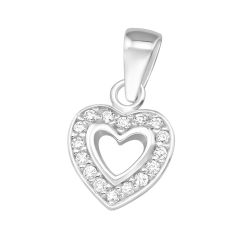 Hopeinen riipus, Romantic Heart Pendant with CZ