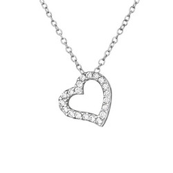 Hopeinen kaulakoru, Silver Heart Necklace CZ